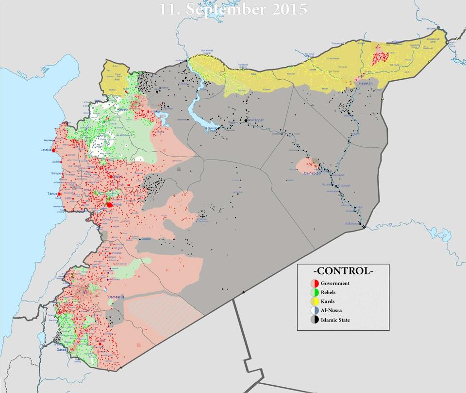Карта боевых действий в Сирии. Обозначенные красным районы контролируются правительством Асада, жёлтым — курдами, серым — ИГИЛ, зелёным — умеренной суннитской оппозицией, белым — сирийским отделением «Аль-Каиды». Фото: AFP PHOTO / EAST NEWS